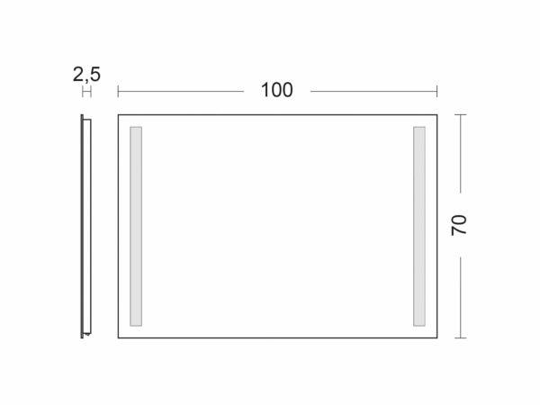 Badspiegel mit Beleuchtung TALOS LIGHT Breite 100cm