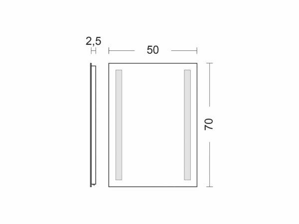 Badspiegel mit Beleuchtung TALOS LIGHT Breite 50cm