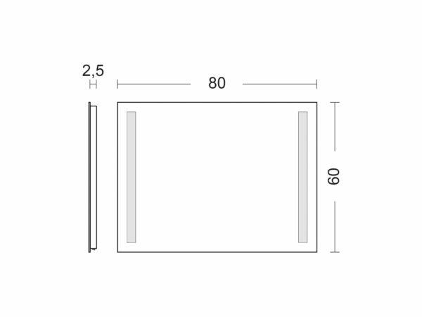 Badspiegel mit Beleuchtung TALOS LIGHT Breite 80cm