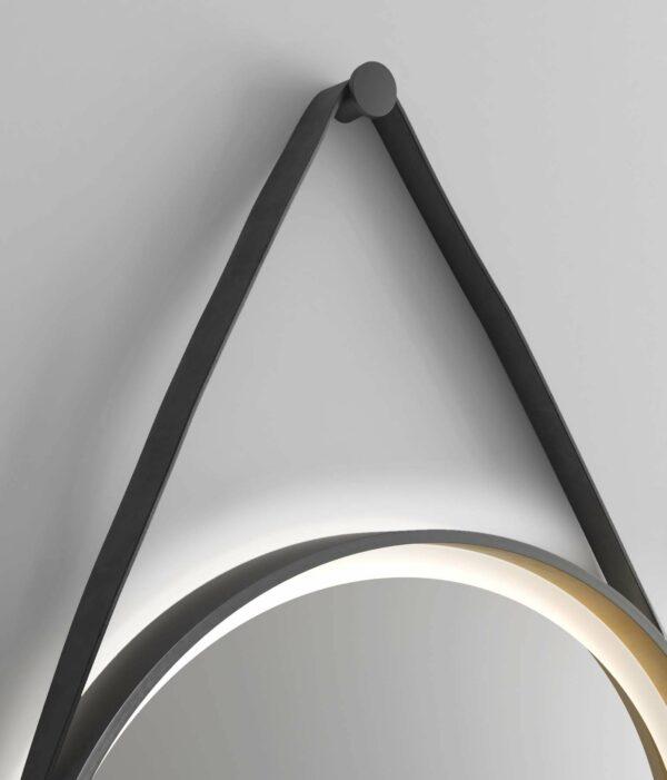 LED Wandspiegel rund TALOS Golden Summer Lederband