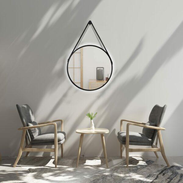 runder LED Wandspiegel in schwarz Talos Black Light Wohnraumambiente