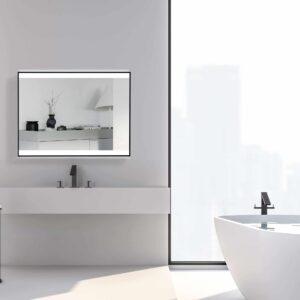 TALOS BLACK SHINE Badspiegel mit Licht Maße 80x60cm