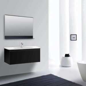 LED Badspiegel mit Ablage mit schwarzem Aluminiumkorpus