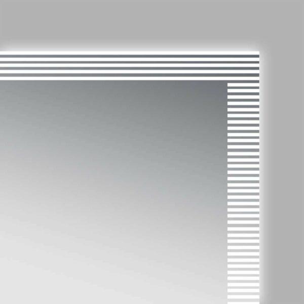 Salle de bains en miroir LED TALOS TRACE lumière interrompue entourer vue de détail