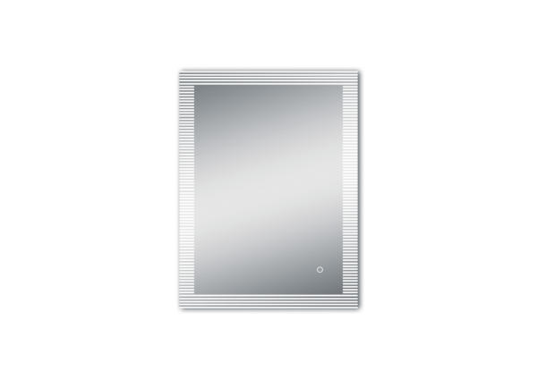 Miroir LED salle de bains TALOS TRACE avec bordure lumineuse interrompue comme unité verticale indépendante