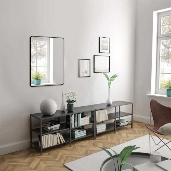 Wandspiegel schwarz TALOS BLACK LIVING im Wohnzimmer