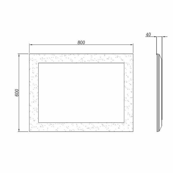 LED Badezimmerspiegel TALOS BRIGHT Maße als Zeichnung