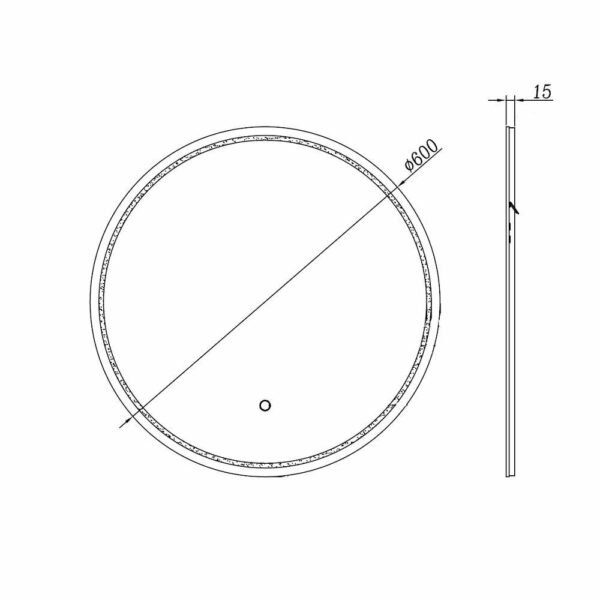 round bathroom mirror LED TALOS MOONSHINE Dimensions with drawing