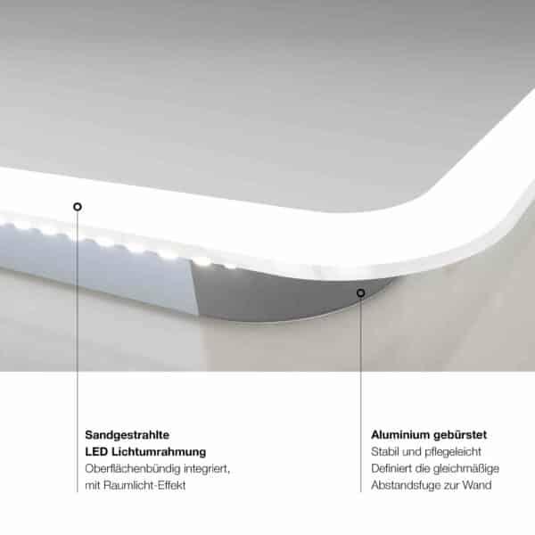 TALOS CASTLE LED Badspiegel mit Rundumbeleuchtung Lichtleiste Detail